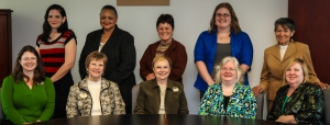 """Georgia Northwestern Technical College EAGLE nominating instructors and winning students are shown posing here before the ceremony December 6. Seated are the nominating instructors, from left, Spence Ramsey, Diane Elrod, Anne Clay, Sandra Russell, and Donna Pierce. Standing, from left, are the winners Victoria Wheeler (Gordon County, Georgia), Jackie Jenkins (Floyd County, Georgia), Tammy Davis (Polk County, Georgia), Megan Ellis (Walker County, Georgia), and Cenaida Vaughn (Catoosa County, Georgia)."""
