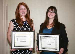 Alice Towe (right) Georgia Northwestern's 2015 GOAL Winner and Allison Patnode (left) Rick Perkins Instructor of the Year at GNTC.