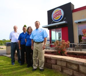 """""""Georgia Northwestern Technical College Athletic Director David Stephenson, far left, visits with some of the management of the Dalton, Georgia-area Burger King restaurants. Shown from left are Stephenson, Dalton Burger King General Manager Mannie Lopez, Middleton & Middleton, Incorporated's Director of Operations Dorie Nesper, and Middleton & Middleton, Incorporated's Franchise Business partner Chris Bock."""""""
