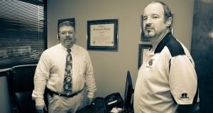"""""""Dr. Barry Vaughn, left, of Vaughn Spine and Orthopedics after his annual gift to the Georgia Northwestern Technical College Foundation and Georgia Northwestern Technical College Athletics. Also shown is Georgia Northwestern Technical College Athletic Director, David Stephenson."""""""