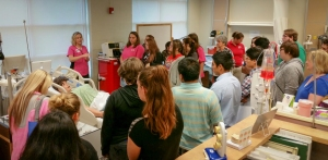 """""""Georgia Northwestern Nursing Skills Lab Coordinator Deseri Papendorp gave some touring students a look at a nursing lab on the Walker County Campus Thursday."""""""