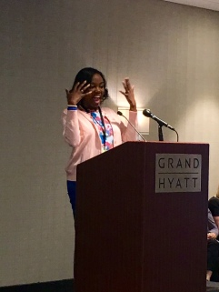 2016 GNTC Rick Perkins Award winner, Brittny Burns, for the college's top instructor speaks at the 2016 G.O.A.L./R.P.A. festivities in Atlanta, Georgia this week.