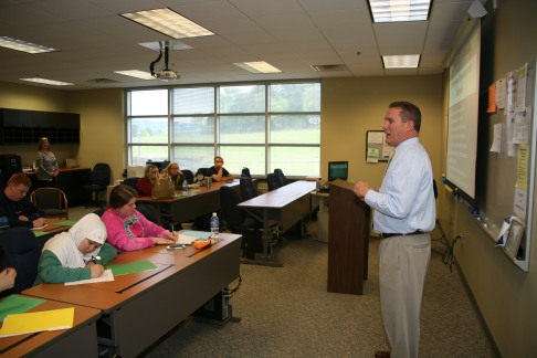 Mark Upton (right), director of Marketing at GNTC, leads an entrepreneurship workshop during Preview Day at GNTC.