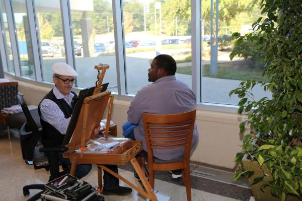Getting your caricature drawn by a professional is a Welcome Week favorite at GNTC