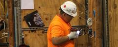 """""""Electrical Construction Wiring entry Eric Vargas of Rome, Georgia during his gold-medal winning performance at the Georgia SkillsUSA Competition and Conference at the Georgia International Conference Center in Atlanta, Georgia on March 24."""""""